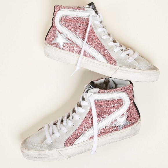 998d920f2e3b Golden Goose Shoes - Golden Goose Pink Glitter Slide Sneakers